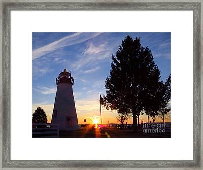 Dawn At Concord Point Lighthouse Framed Print by Rrrose Pix