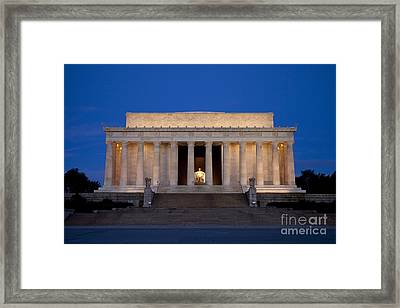 Dawn At Lincoln Memorial Framed Print