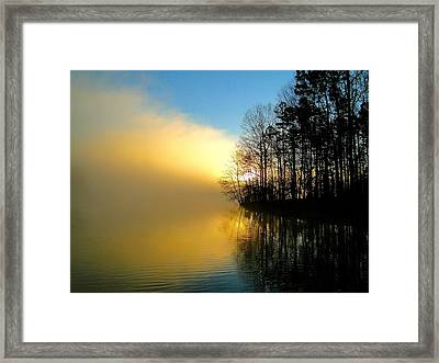 Dawn At Waters Edge Framed Print by Cindy Croal