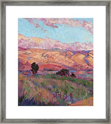 Framed Print featuring the painting Dawn Hills - Left Panel by Erin Hanson