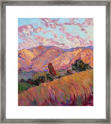 Framed Print featuring the painting Dawn Hills - Right Panel by Erin Hanson