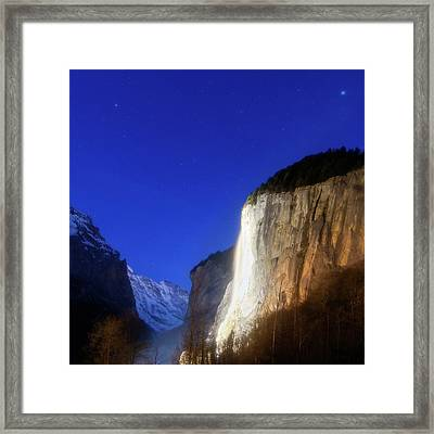 Dawn In Lauterbrunnen Valley Framed Print by Babak Tafreshi