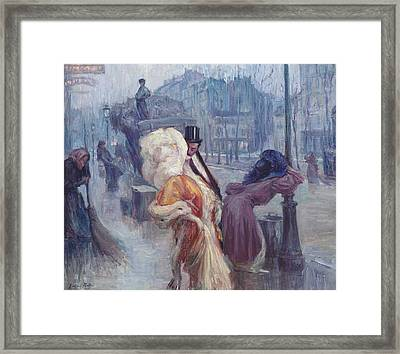 Dawn Leaving The Restaurant In Montmartre Framed Print