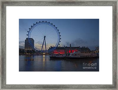 Dawn Light At The London Eye Framed Print by Donald Davis