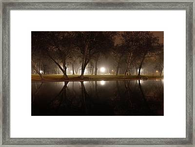 Dawn Mist Rising At Sycamore Pool  Framed Print