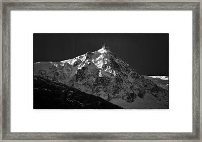 Dawn On Aiguille Du Midi Framed Print by Adele Buttolph