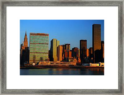 Framed Print featuring the photograph Dawn On Manhattan by James Kirkikis