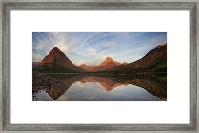 Dawn On Swiftcurrent Panorama Framed Print by Mark Kiver