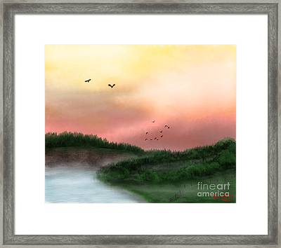 Dawn On The Lake Framed Print