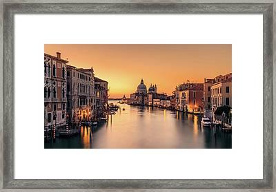 Dawn On Venice Framed Print