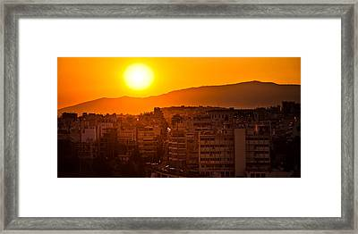 Framed Print featuring the photograph Dawn Over Athens by Brad Brizek
