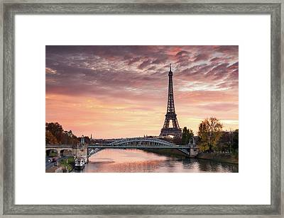 Dawn Over Eiffel Tower And Seine Framed Print by Matteo Colombo