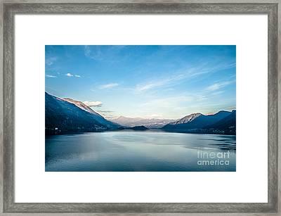 Dawn Over Mountains Lake Como Italy Framed Print