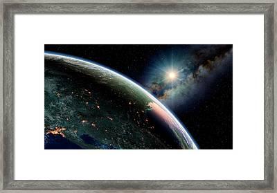 Dawn Over North America Framed Print by Joe Tucciarone