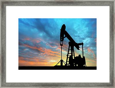 Dawn Over Petroleum Pump Framed Print