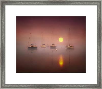 Dawn Over The Lake. Framed Print