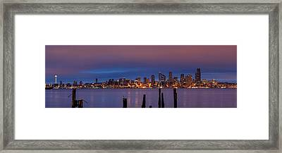 Dawn Panorama Of Downtown Seattle From Alki Beach Framed Print by Silvio Ligutti