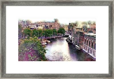Framed Print featuring the photograph Dawn Rain Amsterdam by Susan Maxwell Schmidt