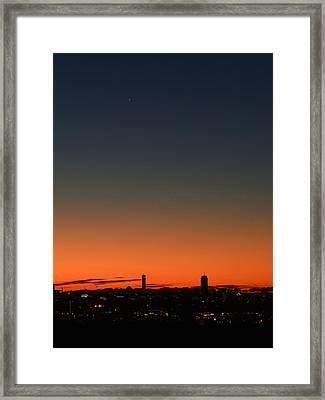 Dawn Sky Over Boston Framed Print