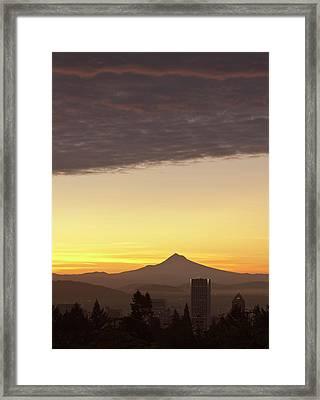 Dawn Sky Over Portland And Mt Framed Print