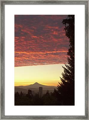 Dawn Sky Over Portland, Oregon Framed Print by William Sutton