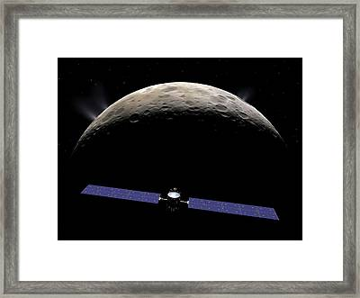 Dawn Spacecraft At Ceres Framed Print by Walter Myers