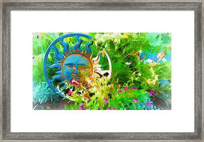 Dawn Sun Across The Garden Framed Print