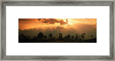 Dawn Teton Range Grand Teton National Framed Print