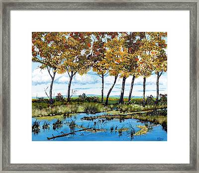 Dawn's Blue Waters Edge  Framed Print