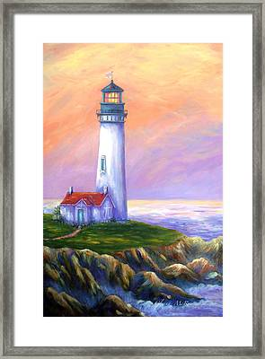 Dawn's Early Light Yaquina Head Lighthouse Framed Print