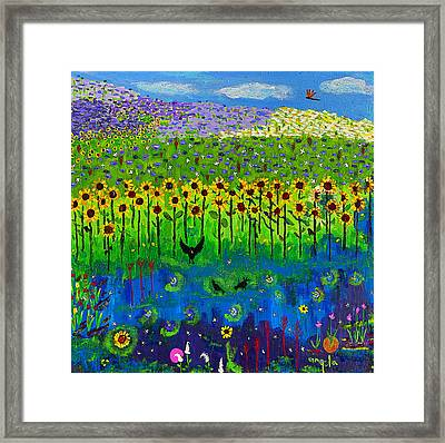 Day And Night In A Sunflower Field I  Framed Print