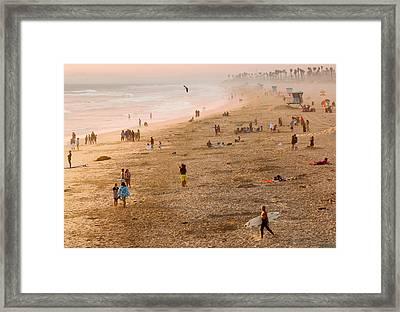 Day At The Beach - Sunset Huntington Beach California Framed Print