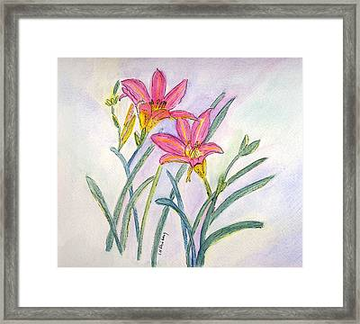 Framed Print featuring the painting Day Lilies by Linda Feinberg