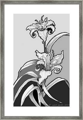 Framed Print featuring the digital art Day Lillies by Carol Jacobs