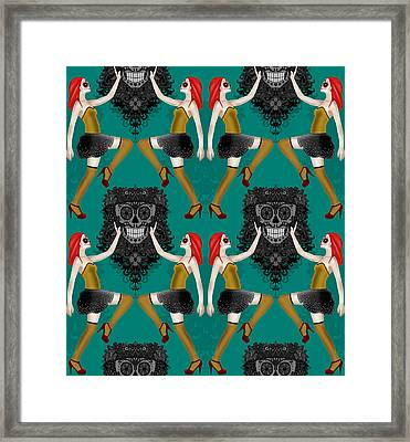 Day Of The Dead Damask Framed Print by Sharon Turner