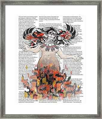 Day Of The Dead Gaia In Flames With Text Illustration Print Framed Print