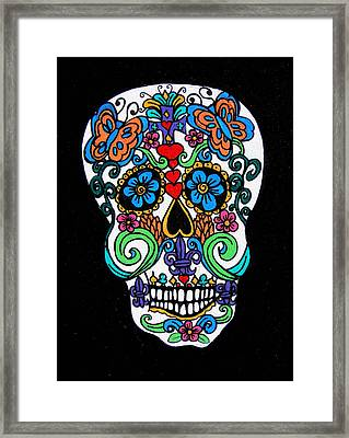 Day Of The Dead Skull Framed Print by Genevieve Esson