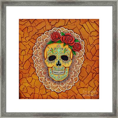 Day Of The Dead With Roses And Lace Framed Print by Joseph Sonday