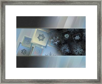 Framed Print featuring the photograph Snowflake Collage - Daybreak by Alexey Kljatov