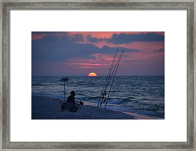 Daybreak On Navarre Beach With Deng The Fisherman Framed Print by Jeff at JSJ Photography