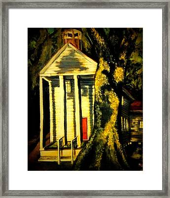 Daybreak On Oak Church Framed Print