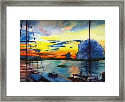 Framed Print featuring the painting Daybreak Over  Apalachicola River  by Ecinja Art Works