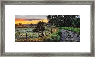 Daybreak Southwest Corner Fenceline Framed Print by Bruce Morrison