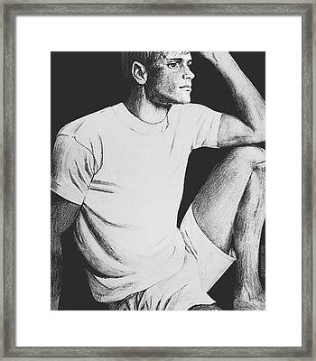Framed Print featuring the drawing Daydreaming by Sophia Schmierer