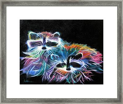 Framed Print featuring the painting Dayglow Raccoons by LaVonne Hand
