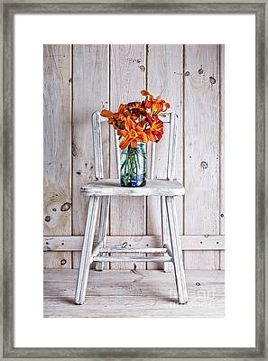 Daylillies On A White Chair Framed Print