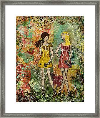 Days Like These Unique Botanical Mixed Media Artwork Of Sisters And Friends Framed Print by Janelle Nichol