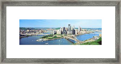 Daytime Skyline With The Delaware Framed Print by Panoramic Images