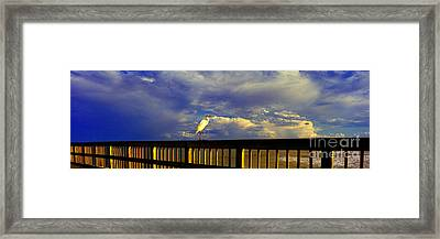 Daytona Beach Rail Bird Sun Glow Pier  Framed Print