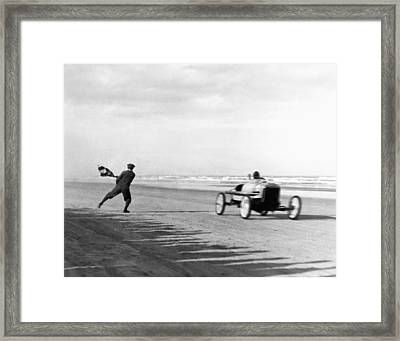 Daytona Beach New Year's Races Framed Print by Underwood Archives